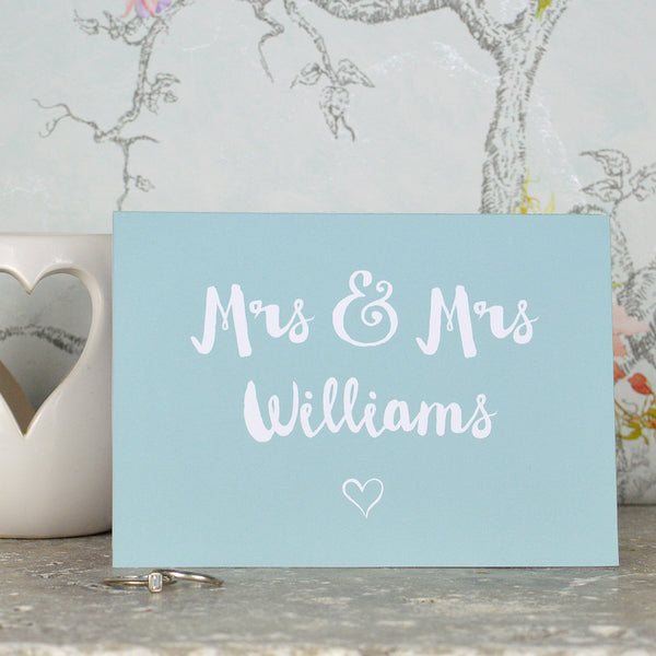 Personalised Mrs and Mrs wedding card for lesbian couple