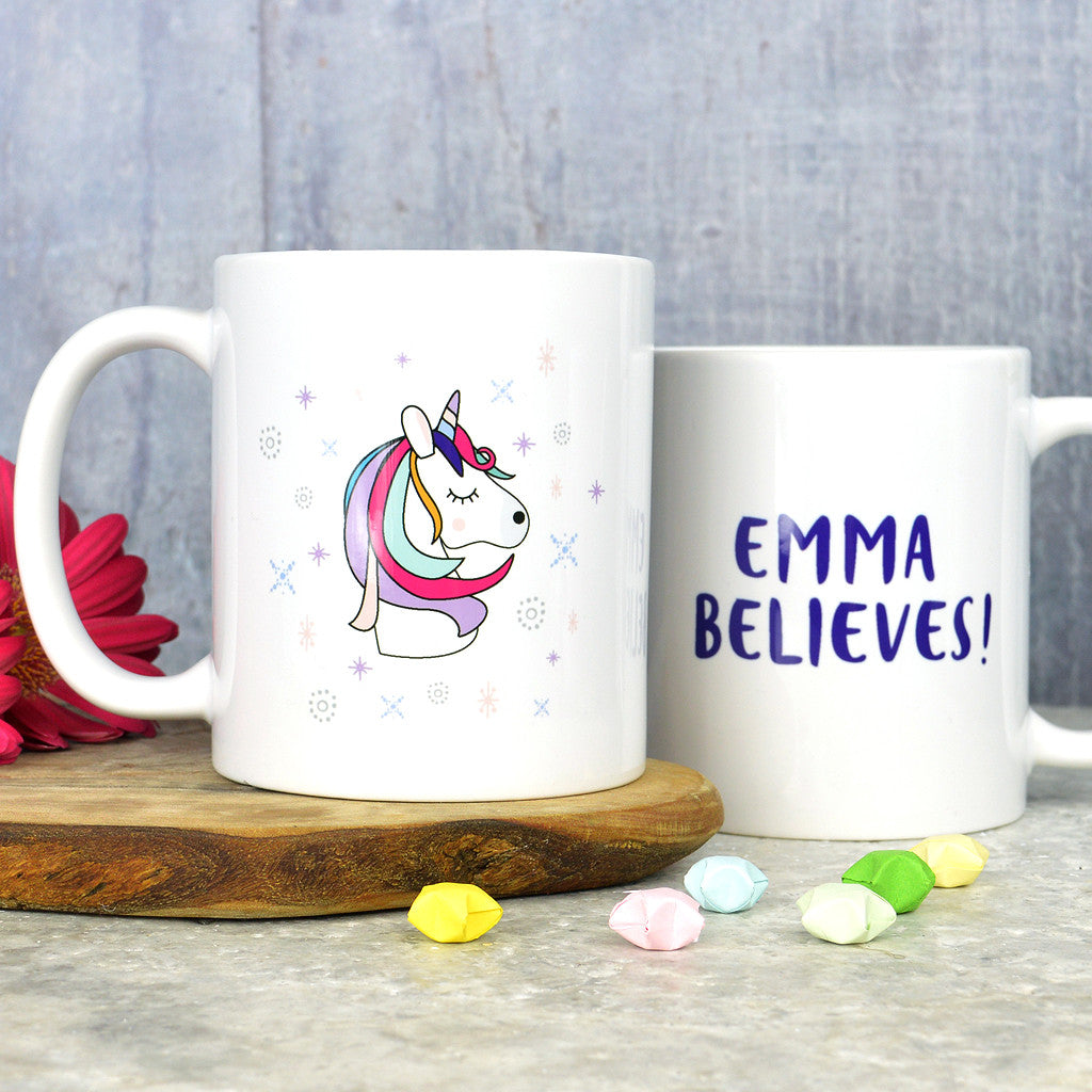 Personalised unicorn mug -'believe'