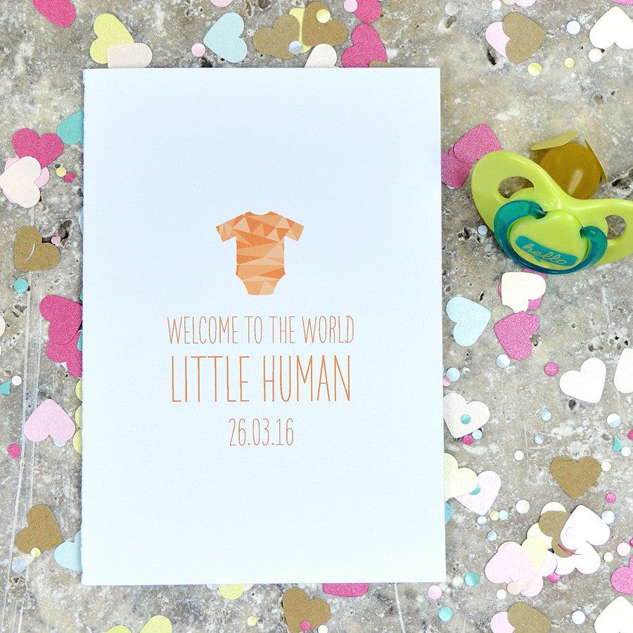 Personalised New Baby Card With baby grow detail