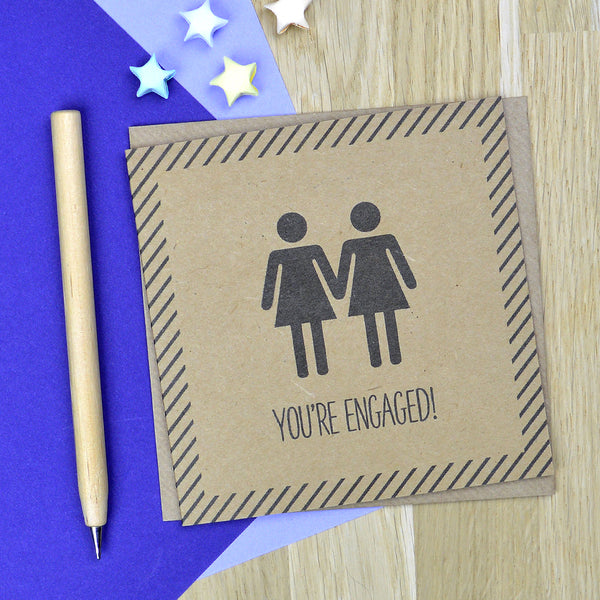 Same sex lesbian engagement card - You're Engaged! - Mrs & Mrs