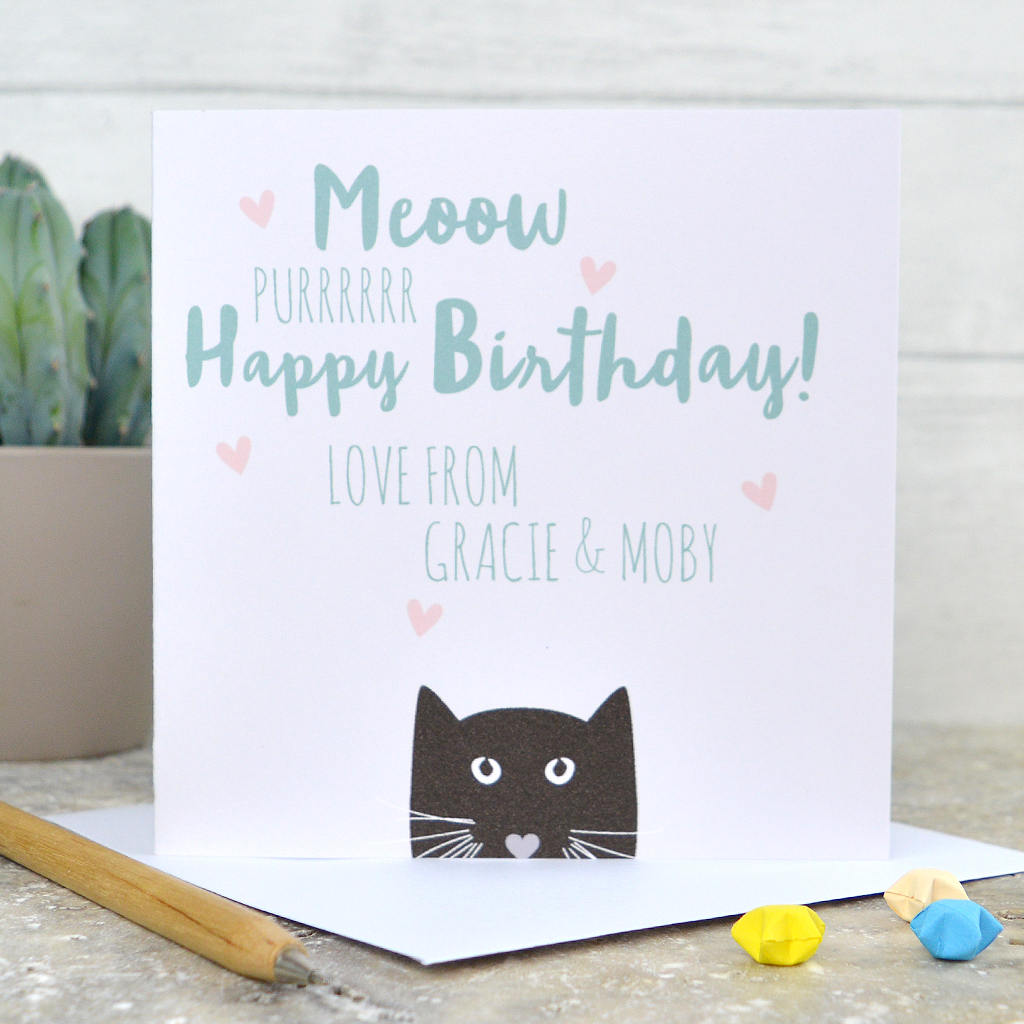 Cat Birthday Card From The Happy