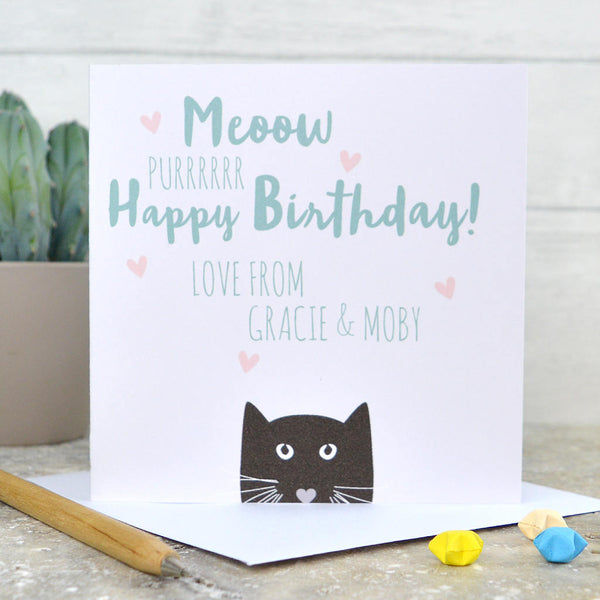 Cat birthday card, from the cat birthday card, happy birthday from the cat, cat card, personalised from the cat card
