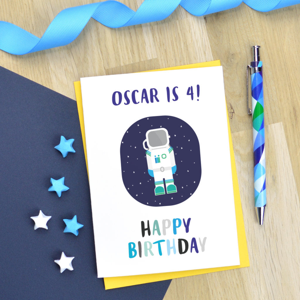 Astronaut birthday card, personalised astronaut card, little boy birthday card, age birthday card