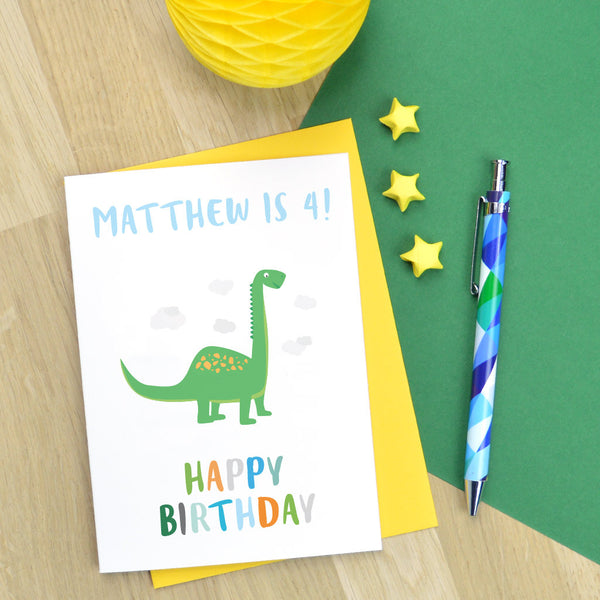 Dinosaur birthday card, personalised dinosaur card, little boy birthday card, age birthday card