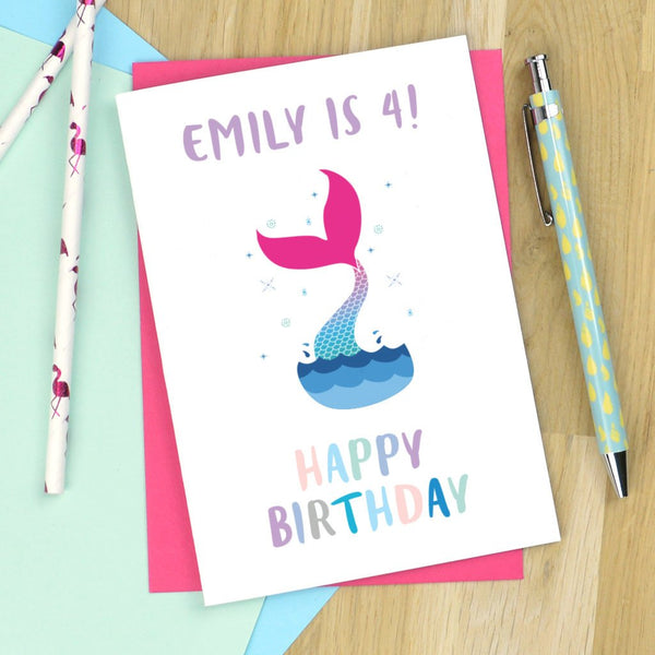 Mermaid birthday card - personalised mermaid card, age birthday car, birthday card for little girl