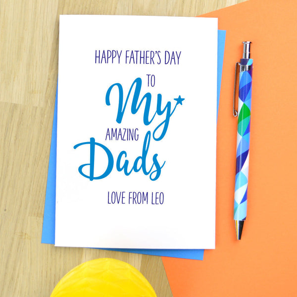 Fathers day card for 2 Dads, Fathers day card for Daddy, same sex Dads Fathers day card, gay Dads Fathers day card