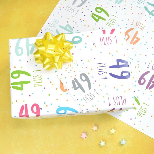 50th birthday wrapping paper, 49+1 wrapping paper set, 50th birthday wrap and tags, 50th birthday gift wrap