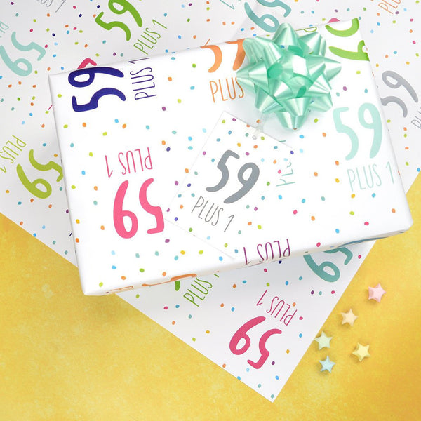 60th birthday wrapping paper, 59+1 wrapping paper set, 60th birthday wrap and tags, 60th birthday gift wrap