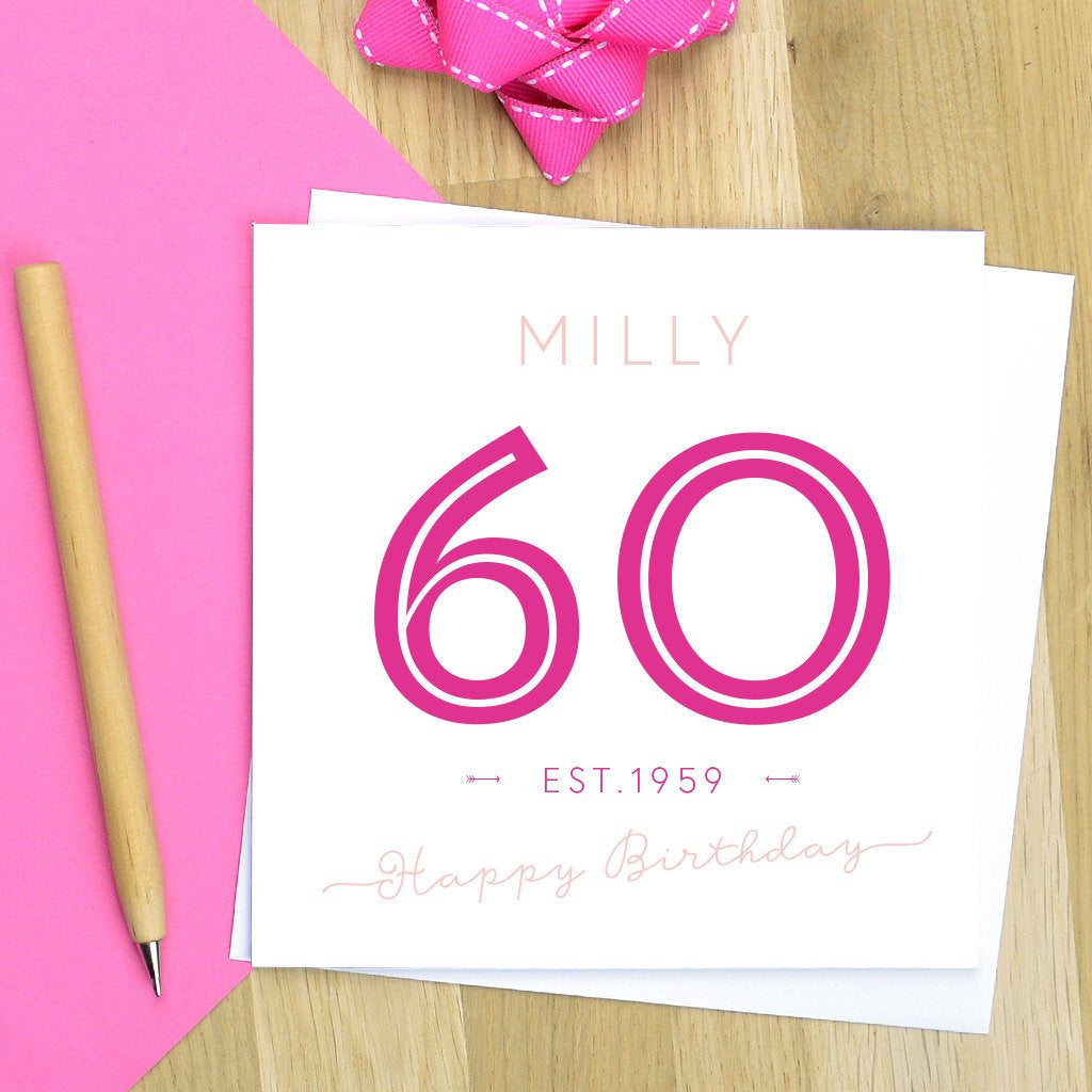Personalised 60th Birthday Card Pink Turquoise