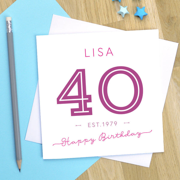 40th birthday card, milestone birthday, 40th card, 40th birthday, 40, 40th