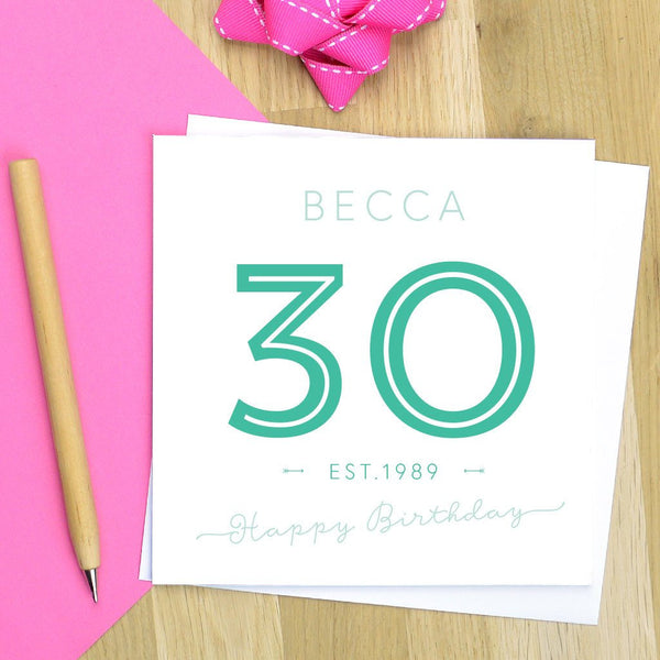 30th birthday card - milestone birthday, 30th birthday card, 30th card - various colours