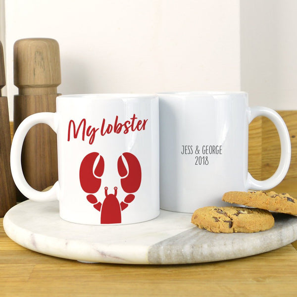 Lobster mug, personalised lobster mug, he's her lobster, valentines lobster gift