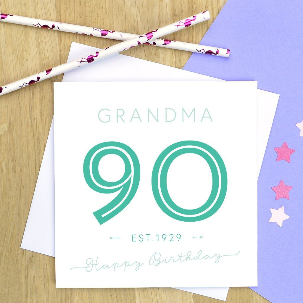 Personalised 90th Birthday Card Pink Turquoise