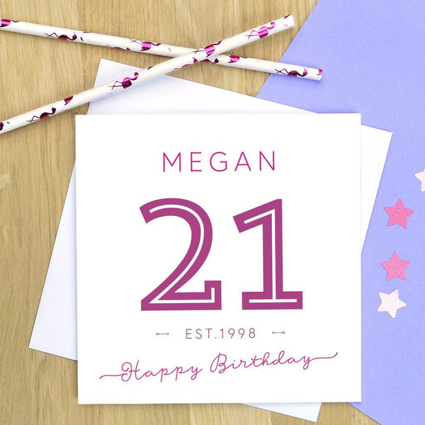 21st birthday card - established 1997 milestone birthday card, 21st birthday, 21st card - various colours