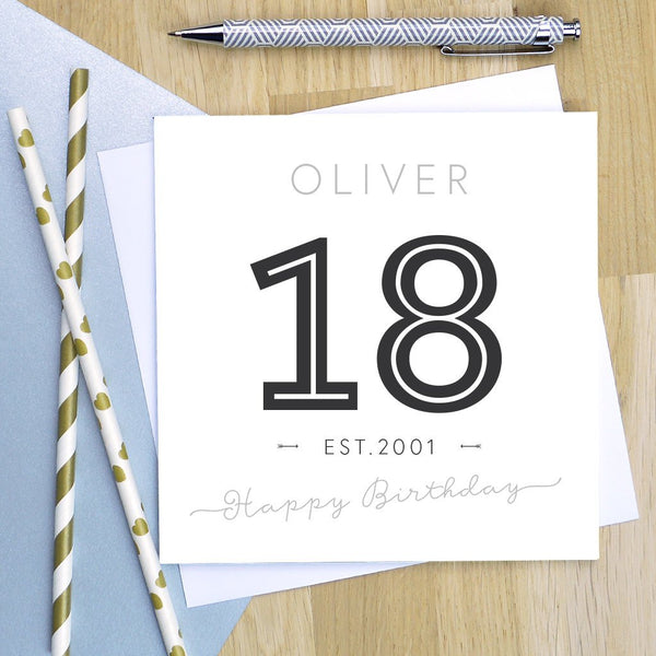 18th birthday card - established  2001, milestone birthday card, 18th birthday card, 18th birthday, 18th card