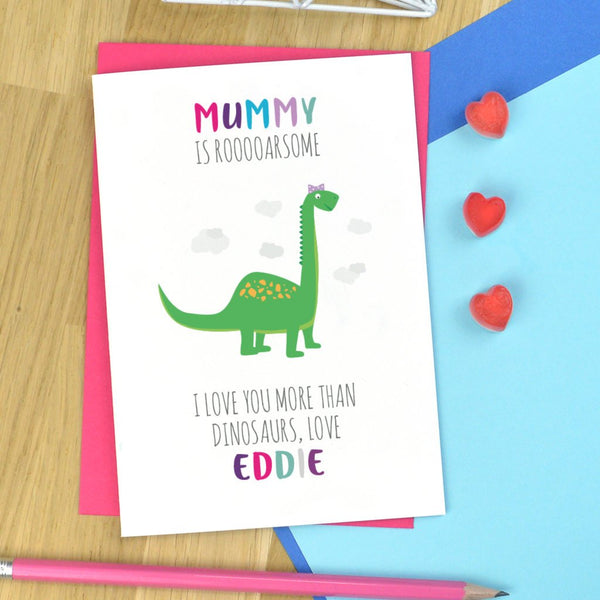 Dinosaur Mothers day card, personalised Mummy dinosaur card