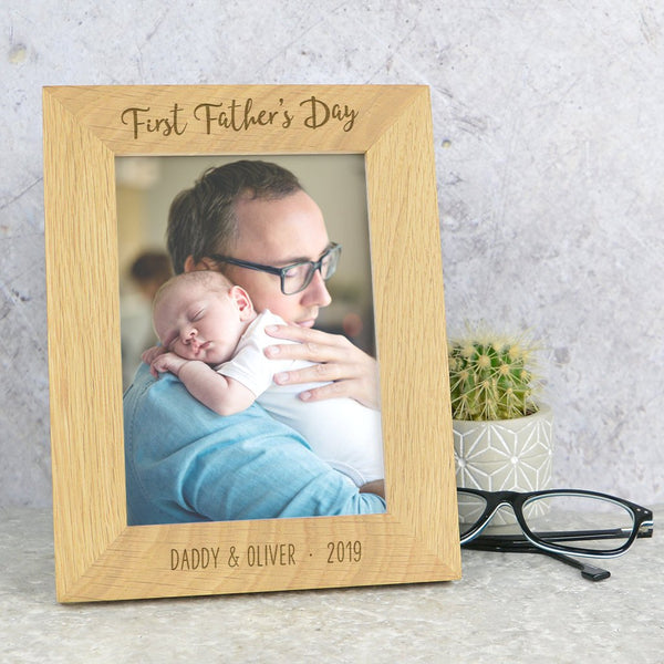 Daddy first Fathers day frame, solid oak photo frame for Father's day