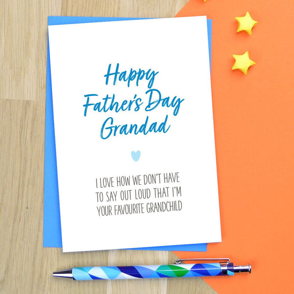 Grandad Fathers day card - various wording