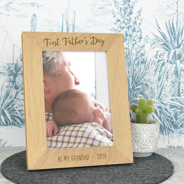 Grandad first Fathers day frame, solid oak frame, Father's day gift for Grandad
