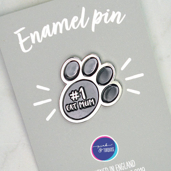Cat Mum enamel pin badge, cat pin badge, number one cat mum, cat mum gift