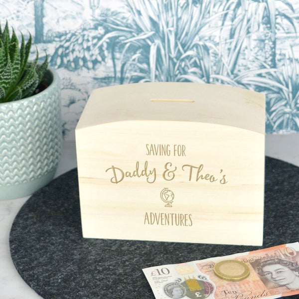 Adventure fund wooden money box
