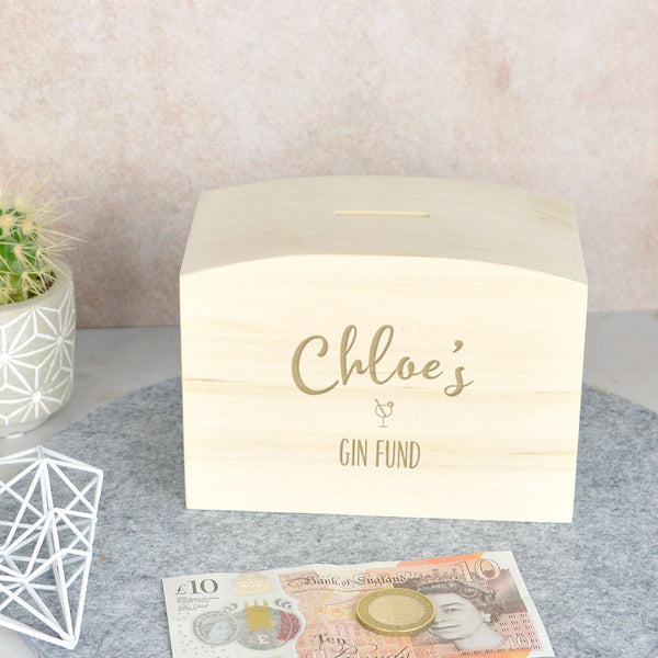 Gin fund wooden money box