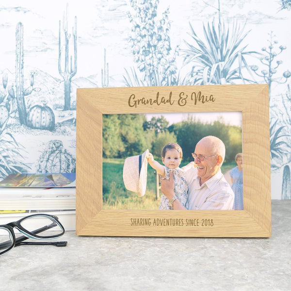Grandad and me wooden photo frame, Father's day gift for Grandad