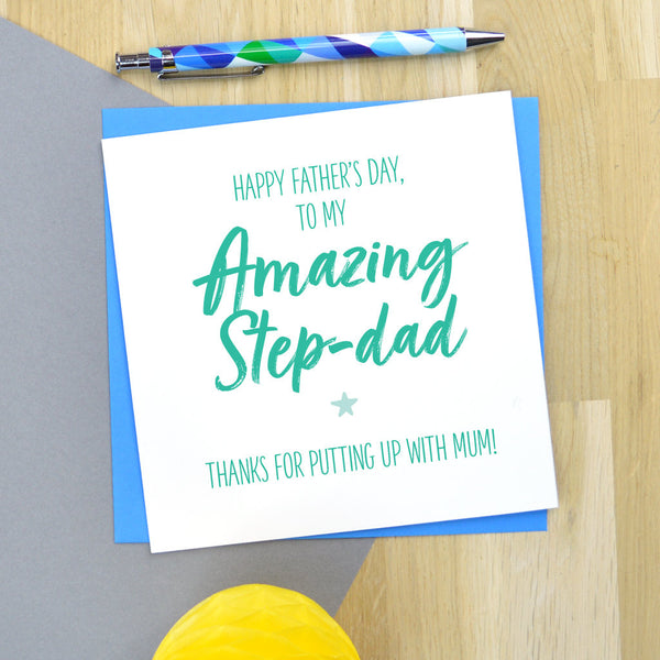 Cheeky Step Dad Fathers Day card - putting up with Mum