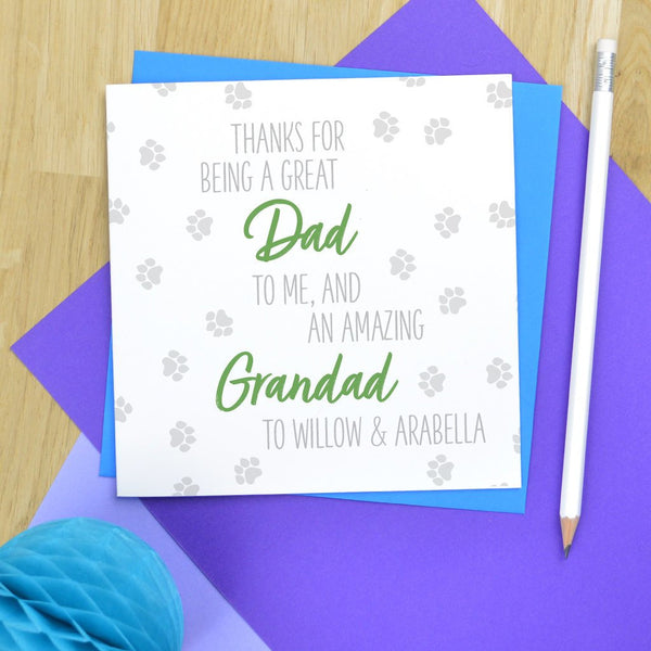 Fathers day card for dog Grandad, great Dad and amazing Grandad to dog