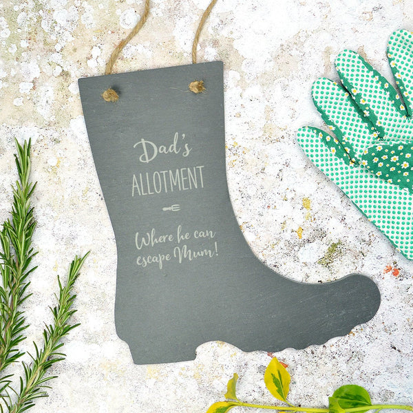 Personalised welly boot gardening sign - various wording