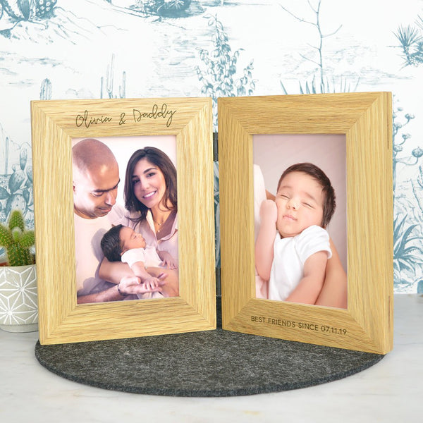 Daddy double wooden photo frame - personalised