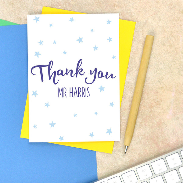Thank you teacher card with star detail