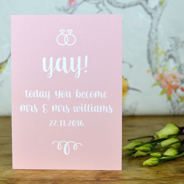 lesbian engagement card, mrs and mrs card, lesbian card