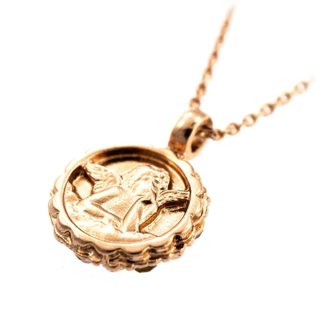 Guardian Angel Collection Rose Gold Plated Pendant Necklace-5212-39132RG