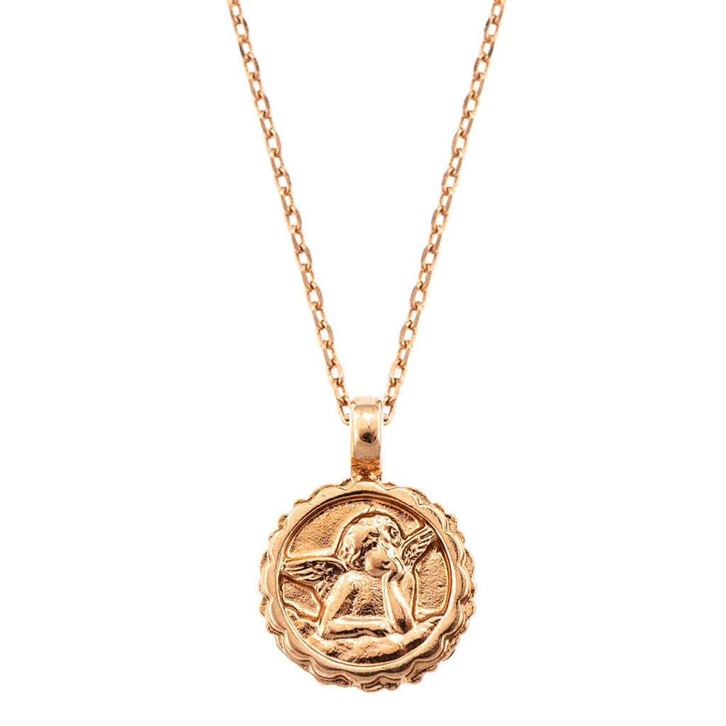 Guardian Angel Collection Rose Gold Plated Pendant Necklace-5212-1022RG