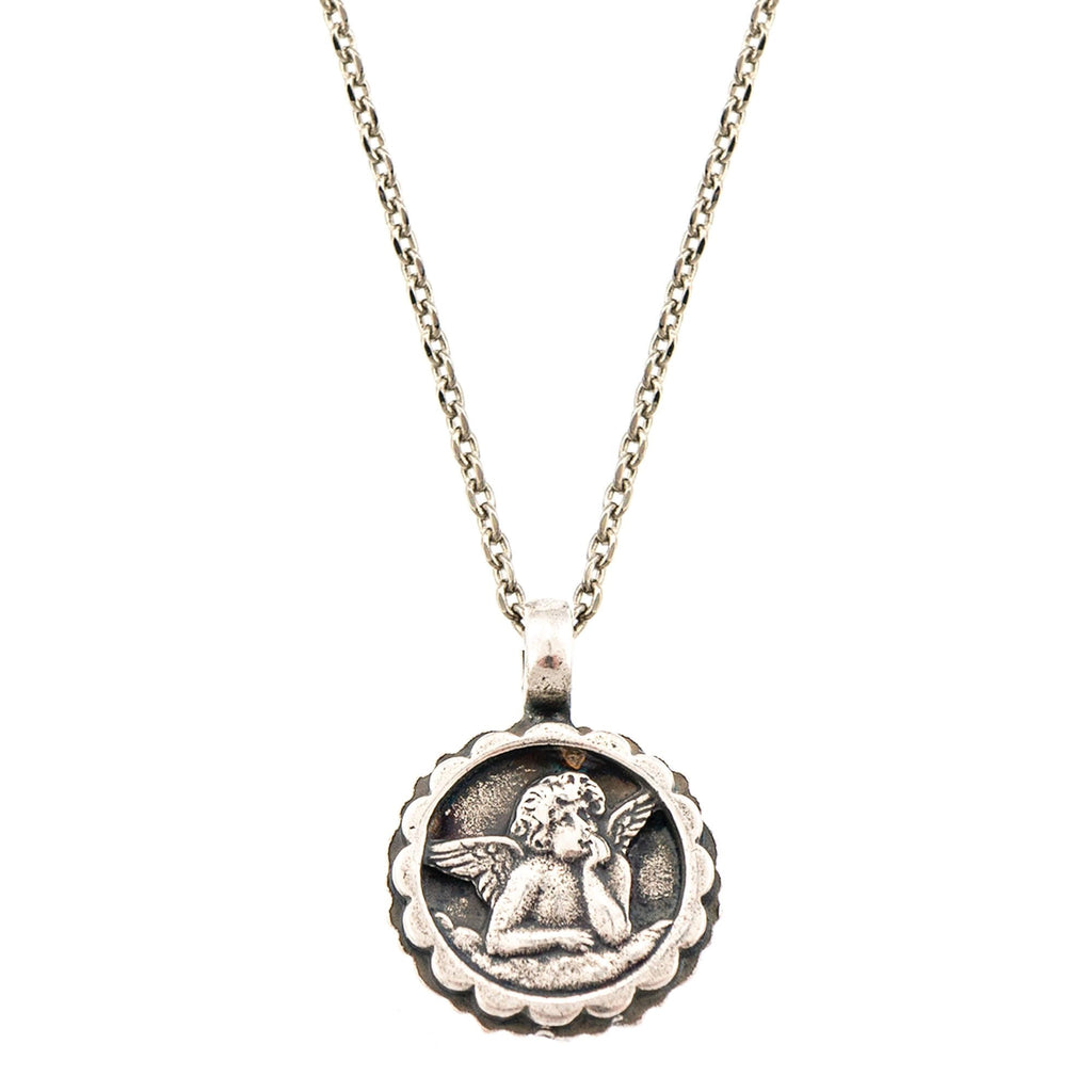 Guardian Angel Collection Silver Plated Pendant Necklace-5212-17SP