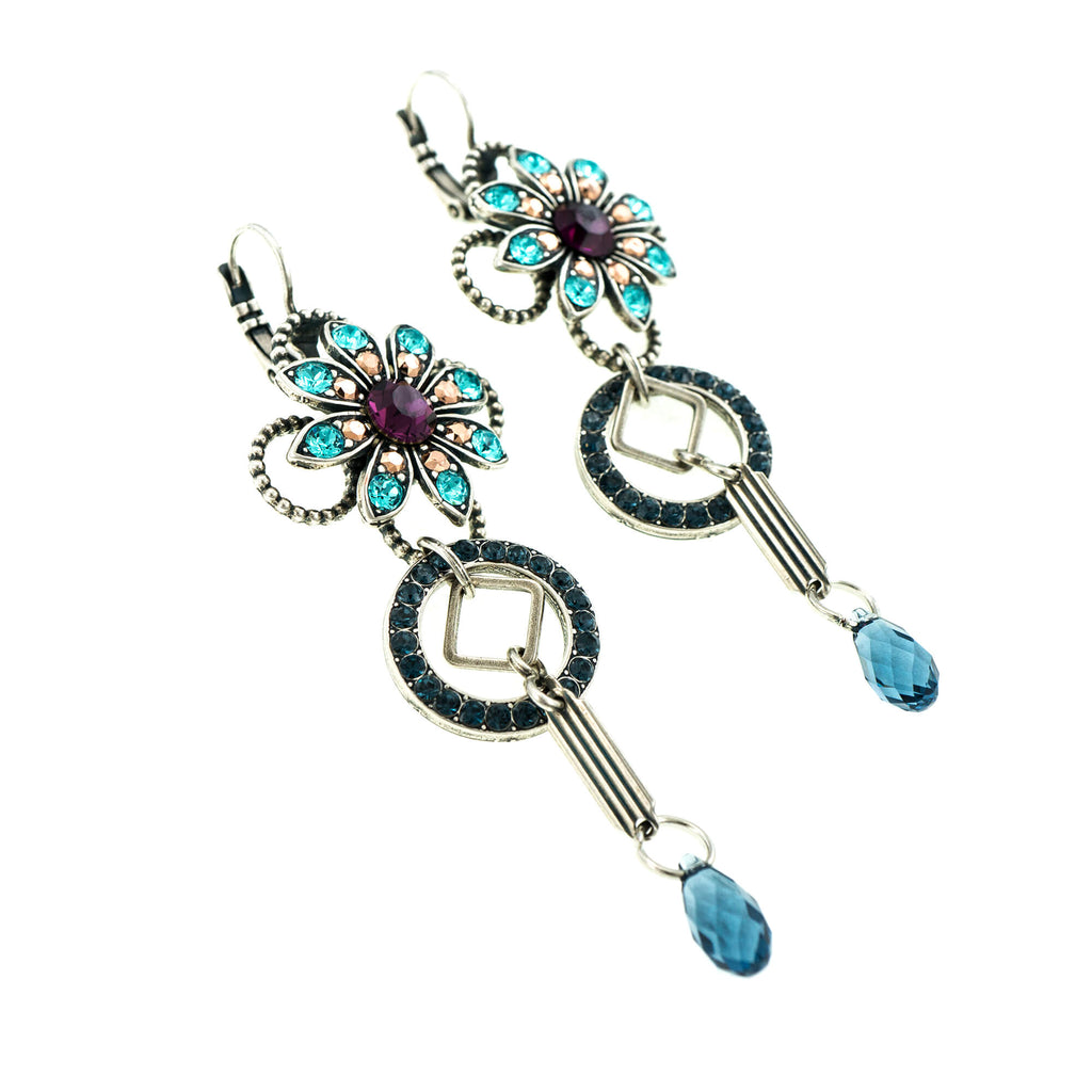 Blue Suede Shoes Collection Silver Plated Earrings-1225-1008SP6