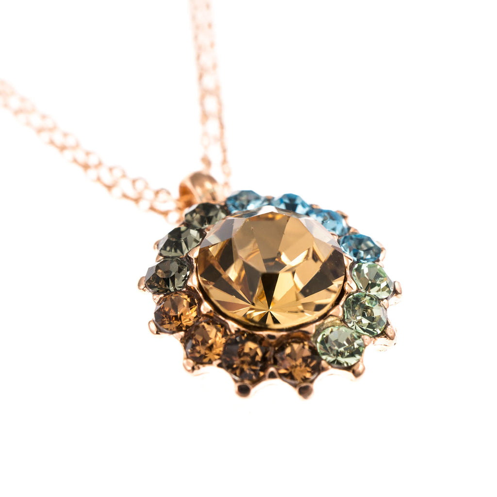 Forget-me-not Collection Rose Gold Plated Pendant Necklace-5034/1-1329RG