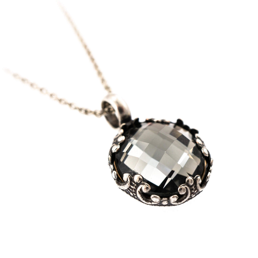 Black Diamond Collection Silver Plated Pendant Necklace-5323/2-215ASP