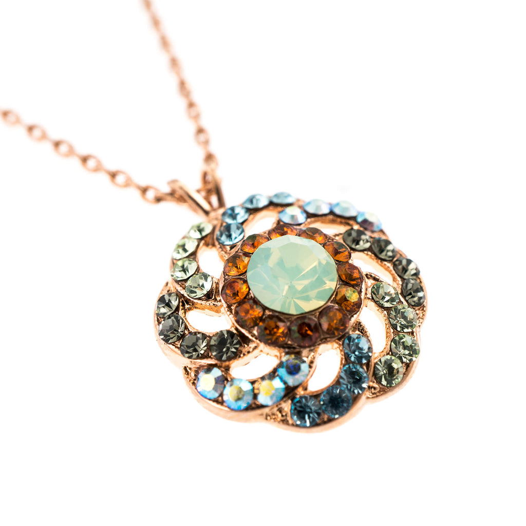 Forget-me-not Collection Rose Gold Plated Pendant Necklace-5526/2-1329RG