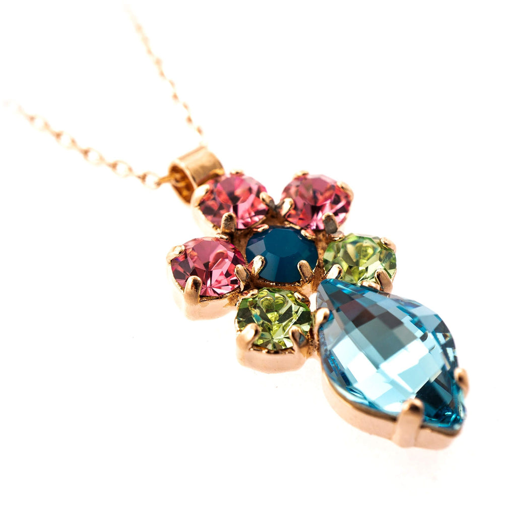 Spring Flowers Collection Rose Gold Plated Pendant Necklace-5628/1-2141RG