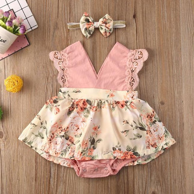 2PCS Lovely Floral Printed Romper