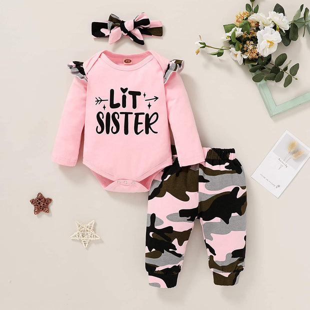 "3PCS Lovely Baby Girl ""Lit Sister"" Letter Printed Long Sleeve Romper With Camouflage Printed Pants Baby Set"