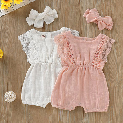 2PCS Lovely Lace Decor Baby Romper