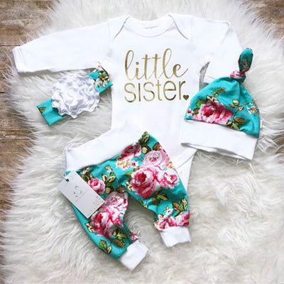 "4pcs ""Little Sister"" Letter Printed Romper With Floral Printed Pants Baby Girl Set"