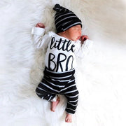 "Baby Boy ""Little BRO"" Letter Printed Bodysuit With Pants Baby Set"