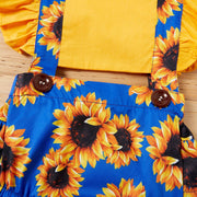 2PCS Sunflower Printed Baby Romper
