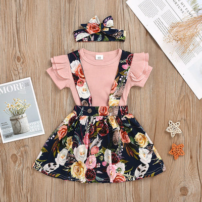 Sweet Floral Printed Baby Skirt Set