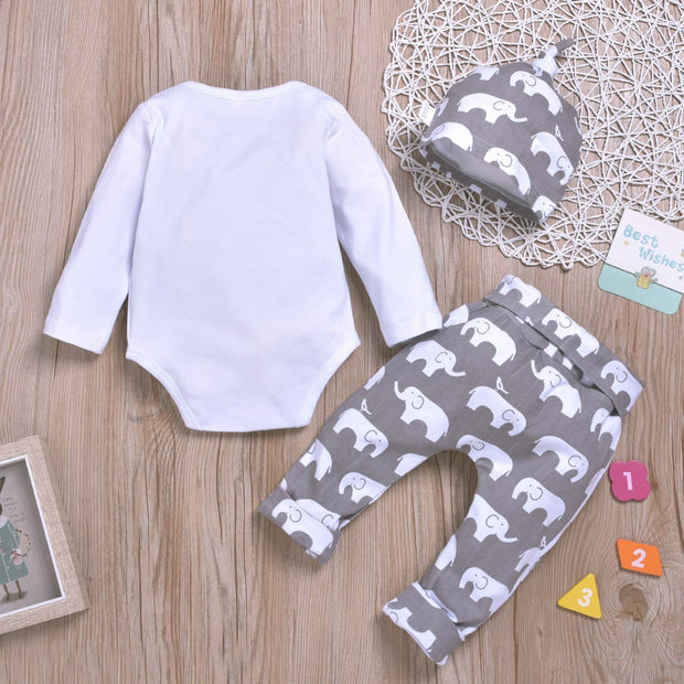 Elephant Print Top & Pant & Hat Set