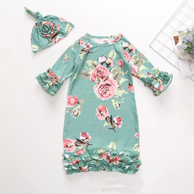 Lovely Baby Floral Printed Pajamas With Hat